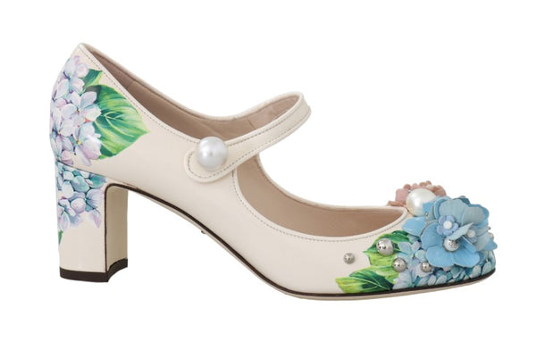 Beige Hortensia Floral Mary Janes Shoes