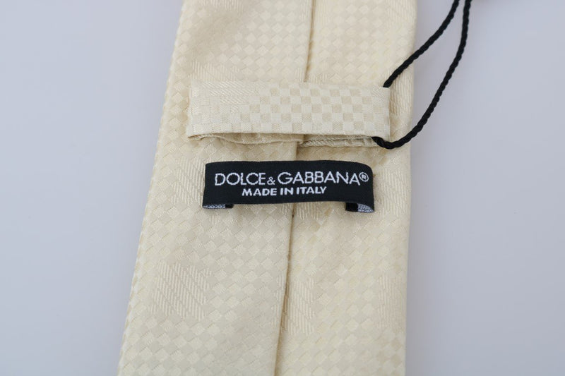 Beige Patterned Silk Tie