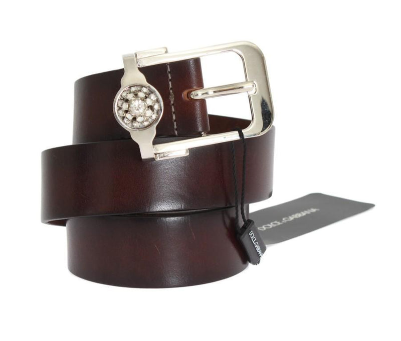 Brown Leather Silver Crystal Buckle Belt