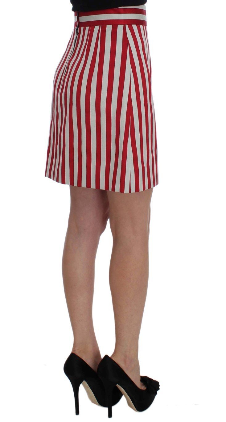 Silver Red Striped Above Knees Skirt