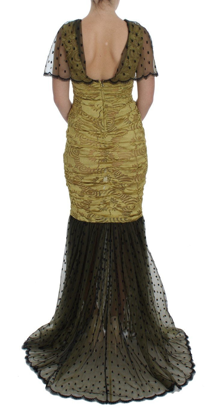 Yellow Black Floral Lace Ricamo Gown Dress