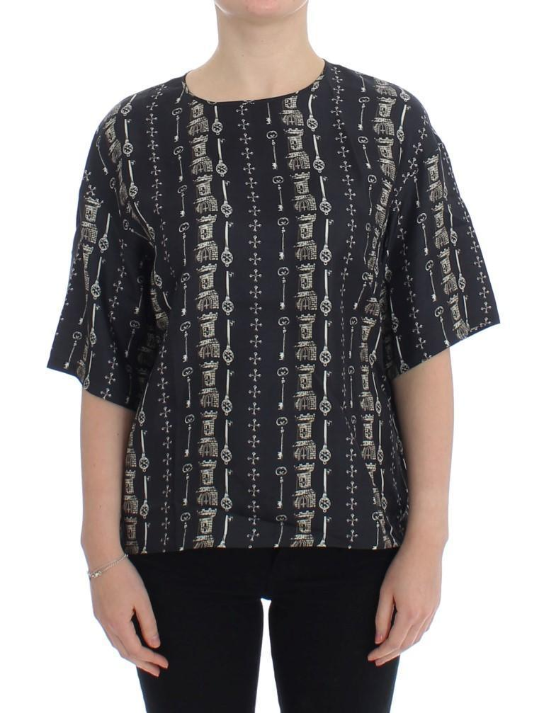 Blue Key Castle Print Silk Blouse T-shirt