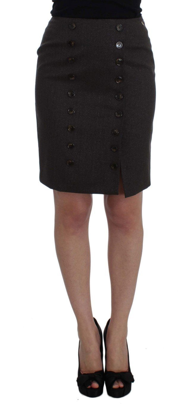 Brown Wool Stretch Pencil Skirt