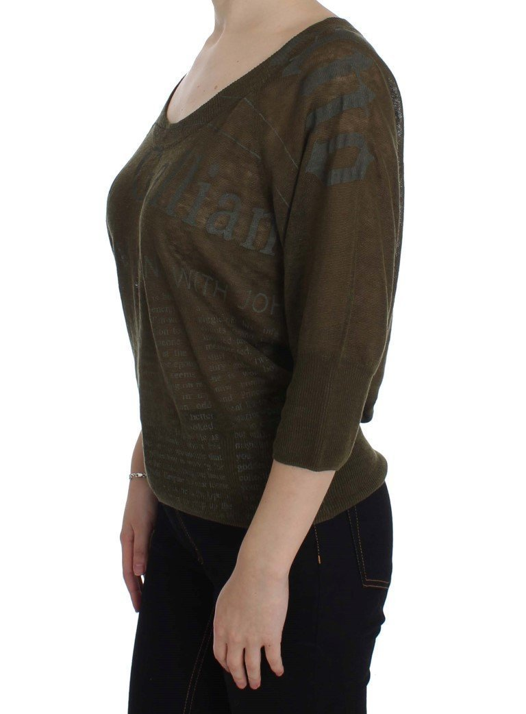 Green Linen Newspaper Print Sweater