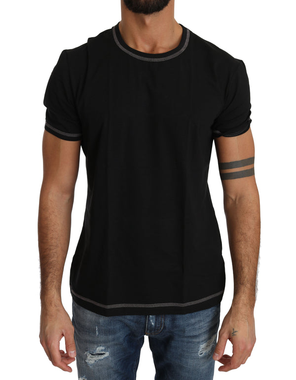 Black Cotton Stretch Underwear T-shirt