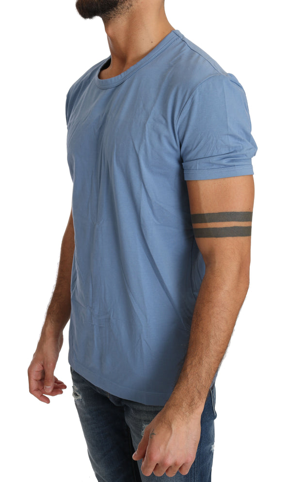 Blue Cotton Stretch Crewneck Underwear T-shirt