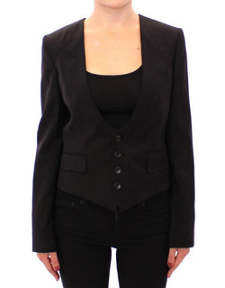 Black Silk Scarf Back Blazer Jacket