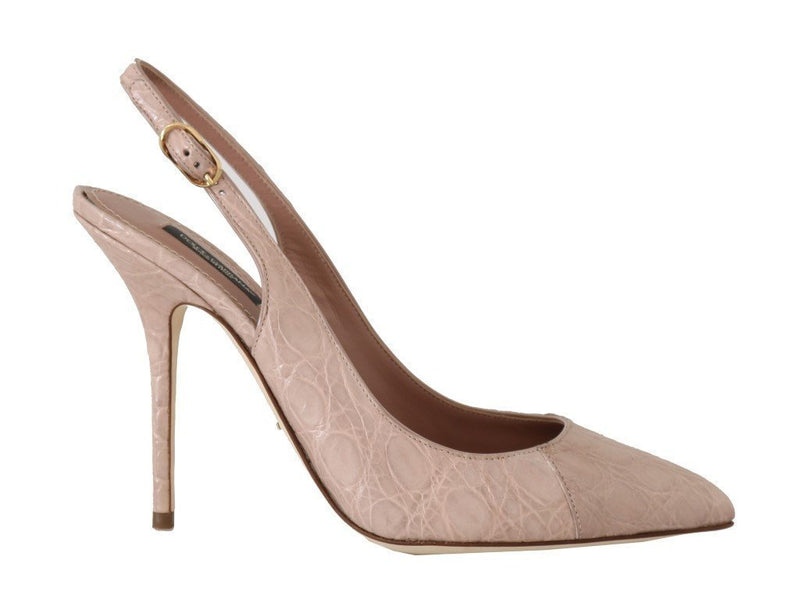 Pink Caiman Crocodile Slingbacks Shoes