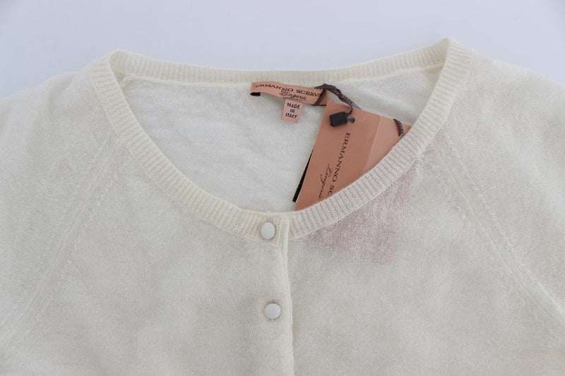 White Wool Blend Sweater Cardigan