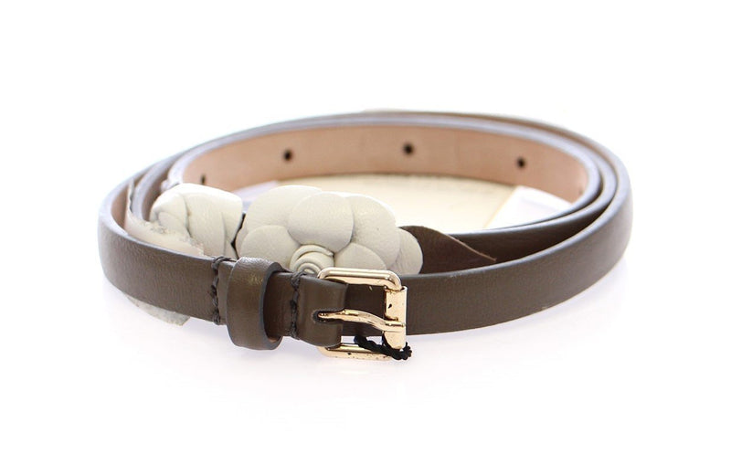 Brown Leather Floral Logo Belt