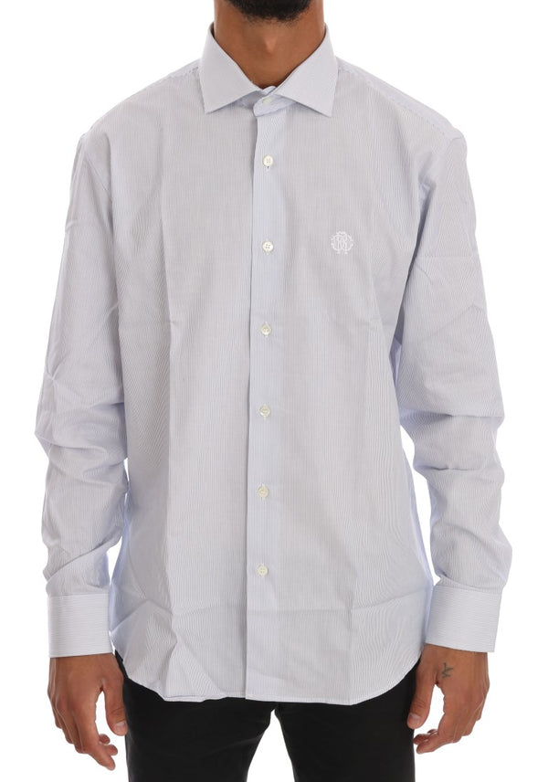 Blue Striped Cotton Slim Fit Shirt