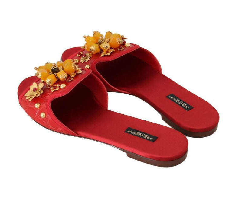 Red Caiman Crystal Slides Sandals