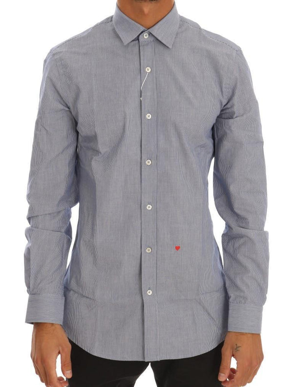 Blue Striped Cotton Slim Fit Dress Shirt