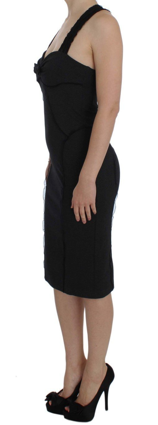 Gray Sheath Stretch Knee Length Dress