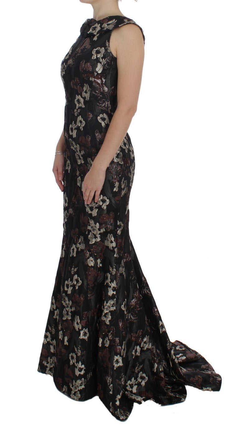 Black Floral Jacquard Sheath Gown Dress