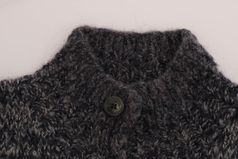 Gray Knitted Wool Button Cardigan Sweater