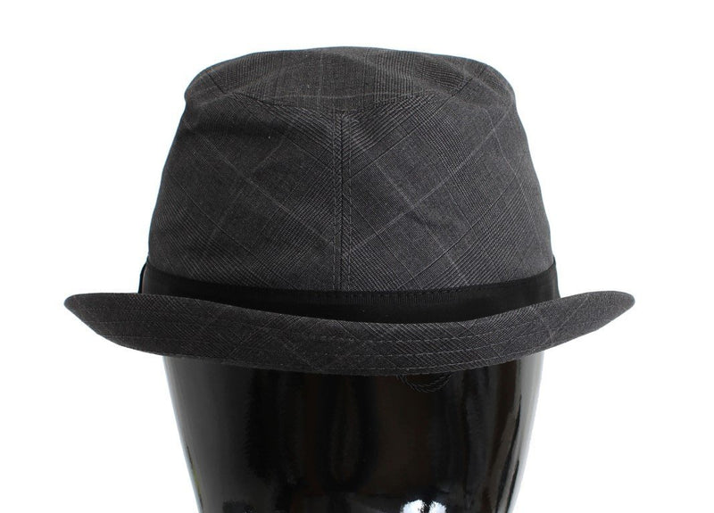Gray Cotton Logo Fedora Trilby Hat