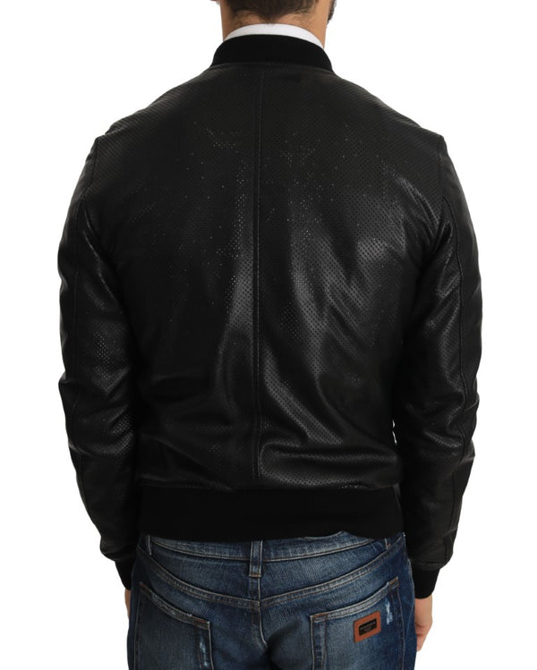 Black Perforated Leather Bomber Jacket