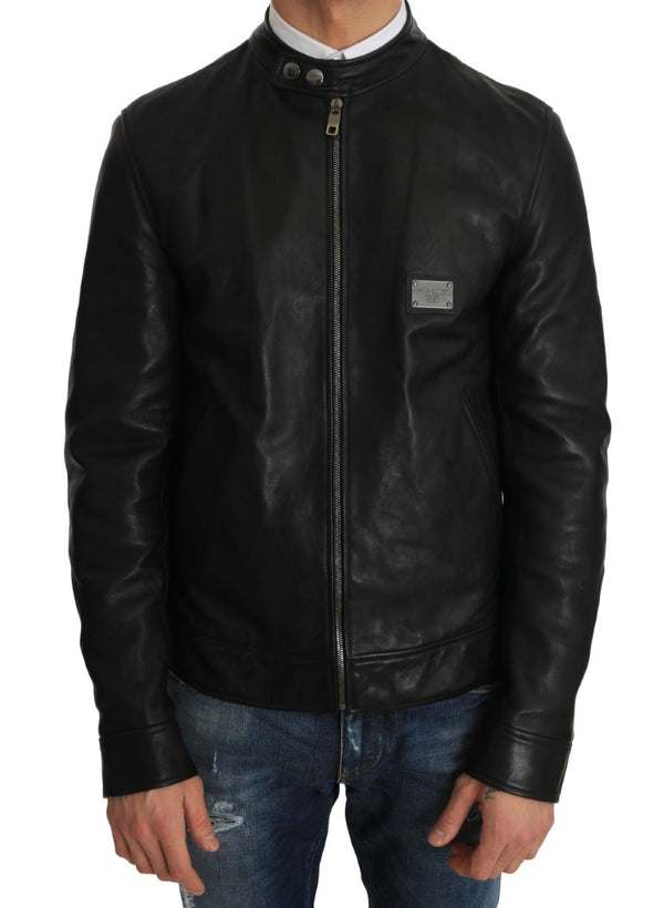 Black Leather Biker Motorcycle Jacket