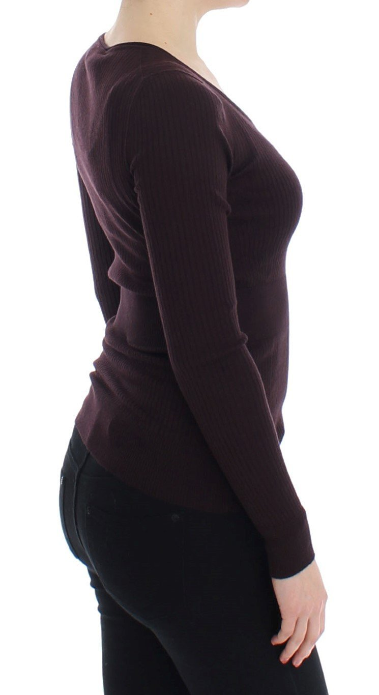 Purple Cashmere Henley Sweater Pullover