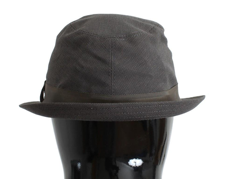 Gray Patterned Cotton Fedora Trilby Hat