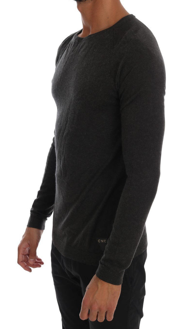Gray Wool Blend Pullover Sweater