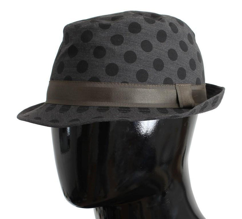 Gray Polka Dotted Wool Fedora Trilby Hat
