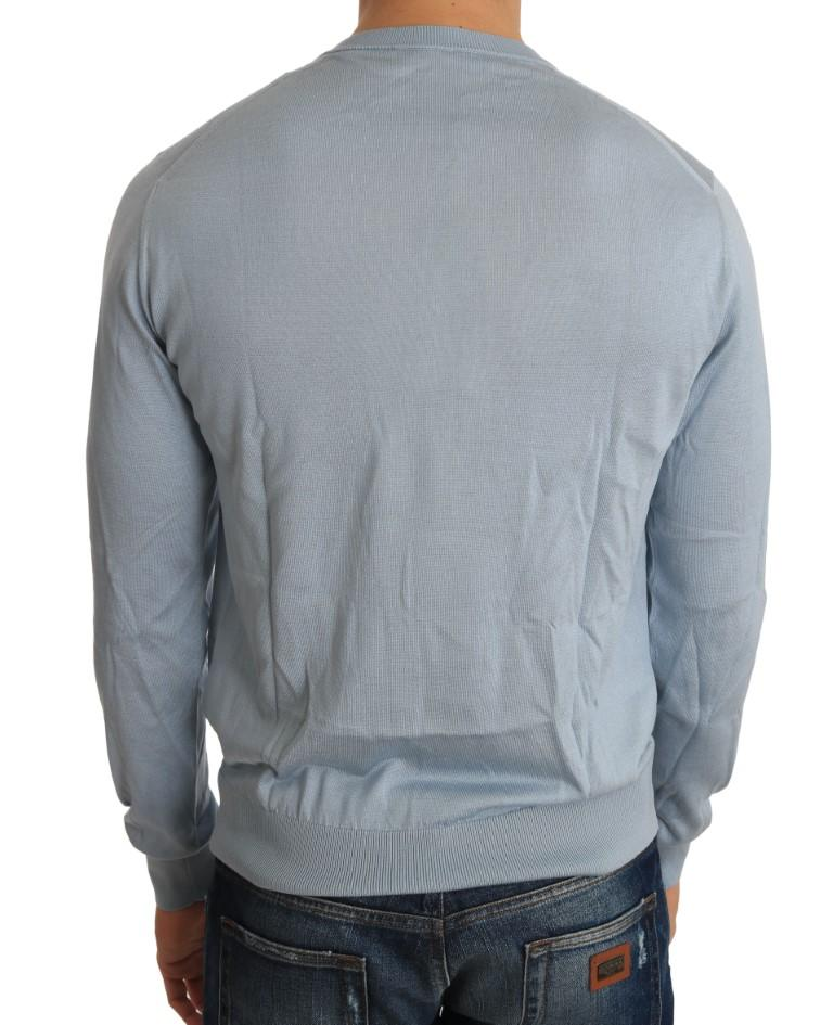 Light Blue Silk V-neck Pullover Sweater