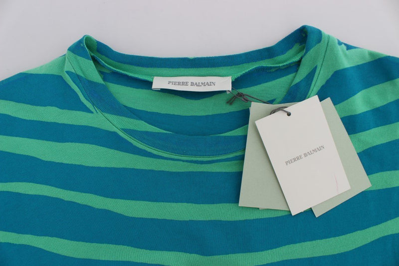 Blue Striped T-Shirt Top Blouse