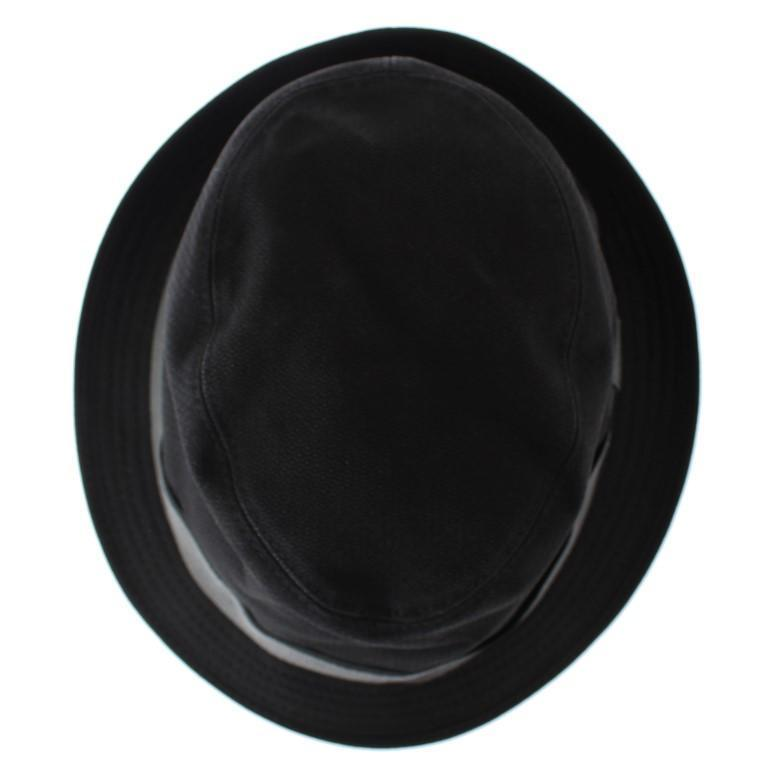 Black Gray Cotton Fedora Trilby Hat