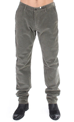 Green Stretch Straight Fit Corduroy Pants