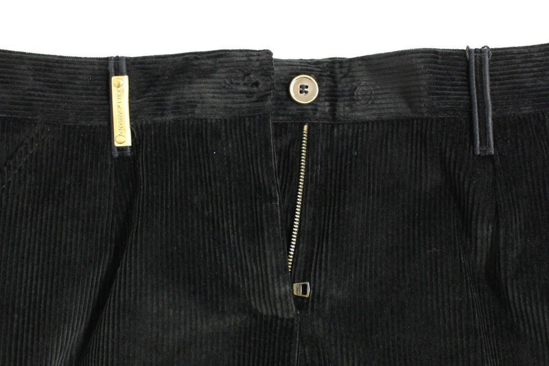 Black Corduroys Straight Logo Casual Pants