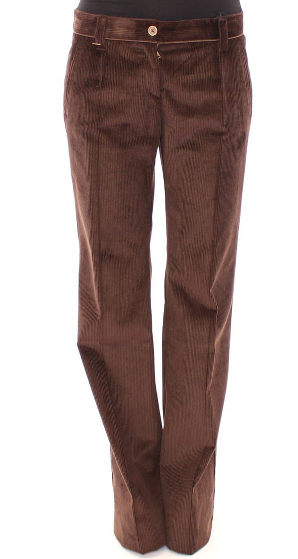 Brown Corduroys Boot Cut Logo Casual Pants