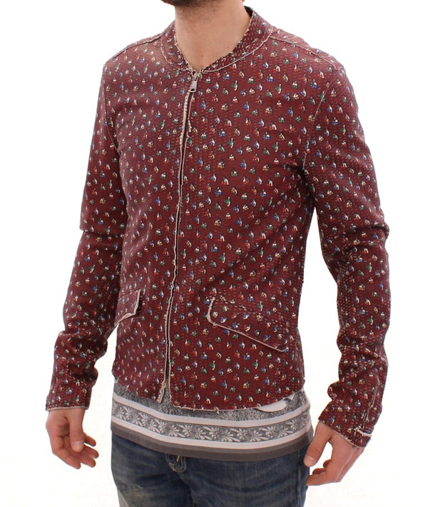 Bordeaux Leather Boxer Print Jacket Coat