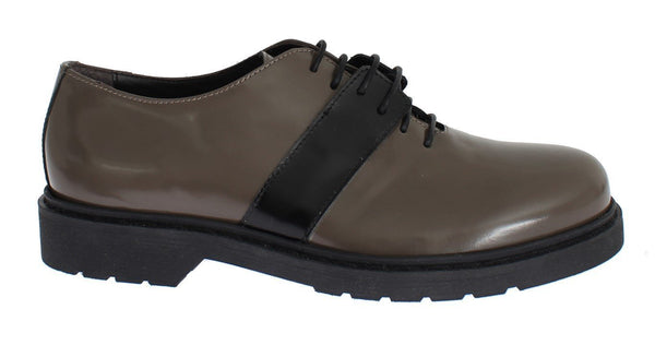 Gray Brown Leather Laceups Shoes