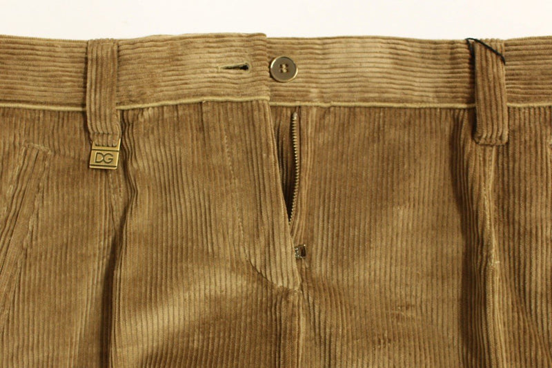 Beige Corduroys Boot Cut Logo Casual Pants
