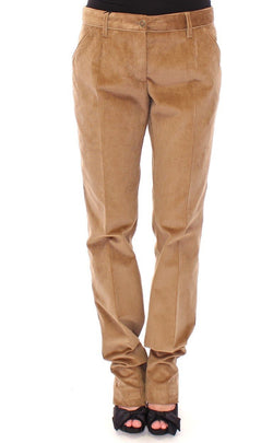 Beige Corduroys Straight Logo Casual Pants