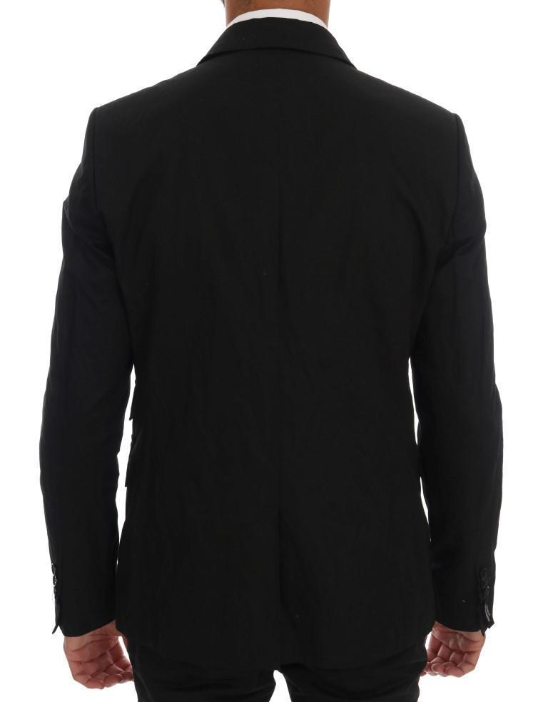 Black Cotton Slim Fit Blazer Jacket