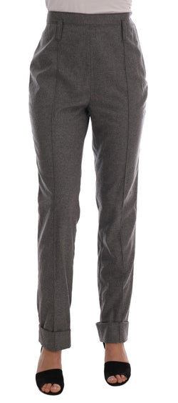 Gray Wool Straight Stretch Pants