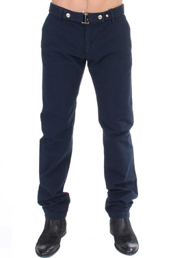Blue Cotton Regular Fit Casual Pants