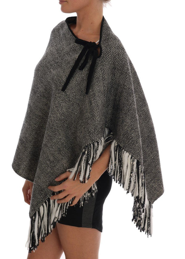 Gray Wool Knitted Sweater Poncho