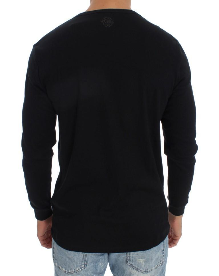 Black Cotton V-neck Sweater