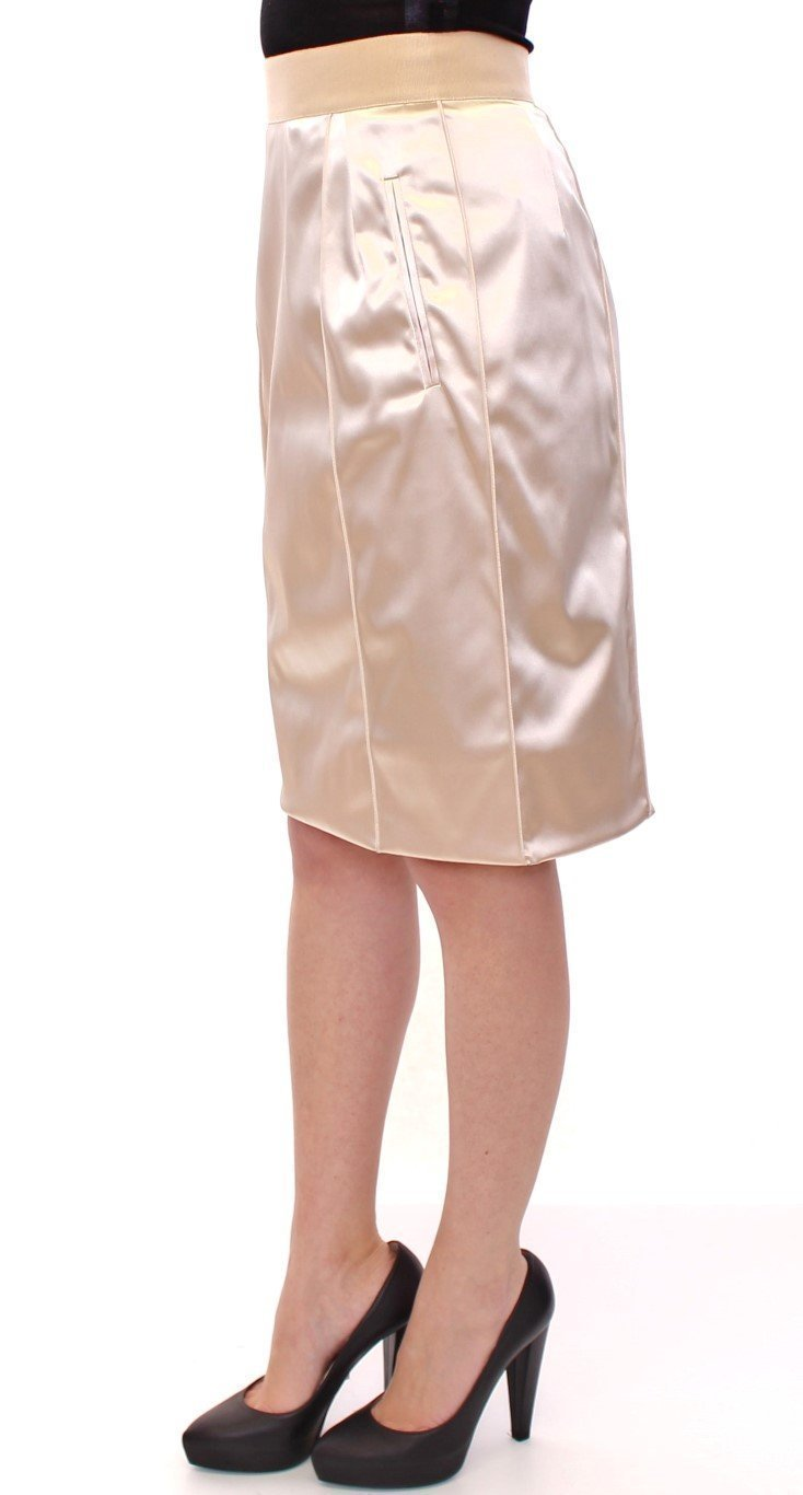 Beige Silk Knee Length Pencil Skirt