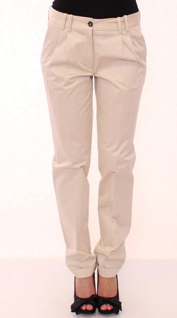 Beige Cotton Straight Casual Pants
