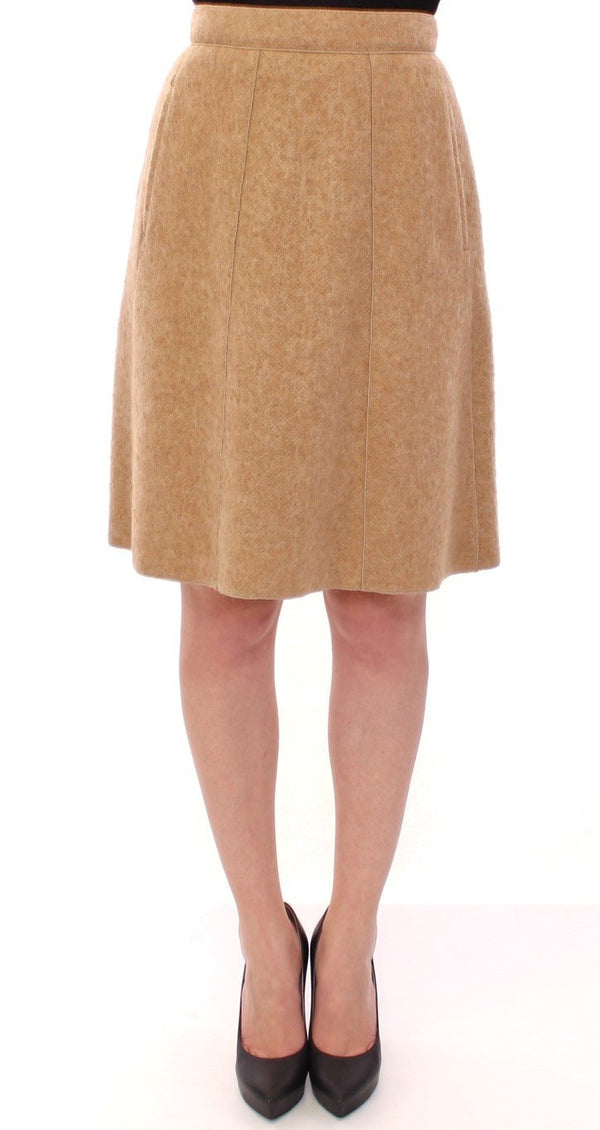Beautiful Beige Alpaca Knee Length Skirt for Women