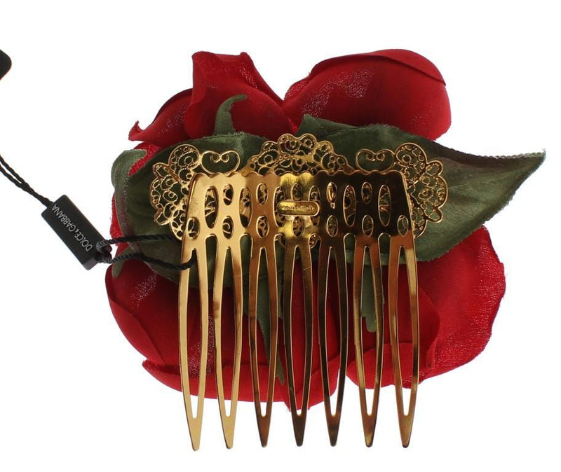 Red Silk Rose Garofani Gold Hair Comb