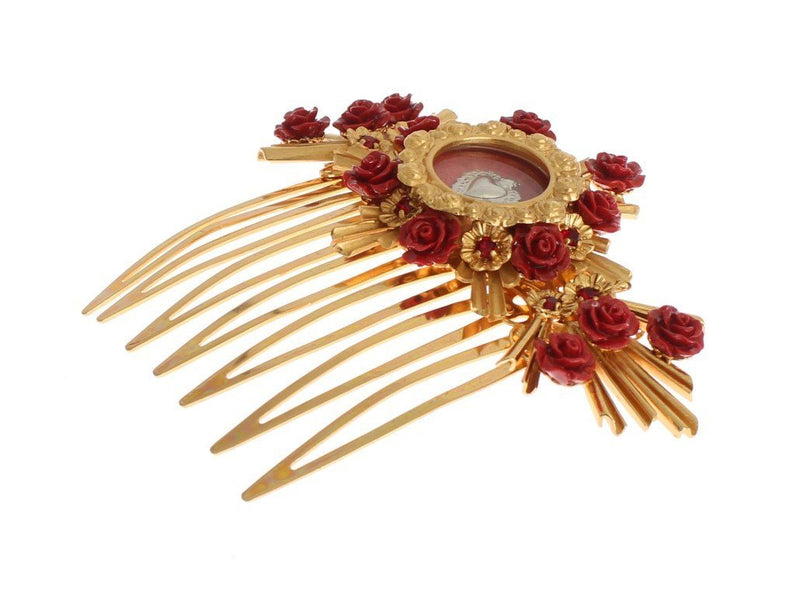 Red Roses Gold Heart Sicily Hair Comb