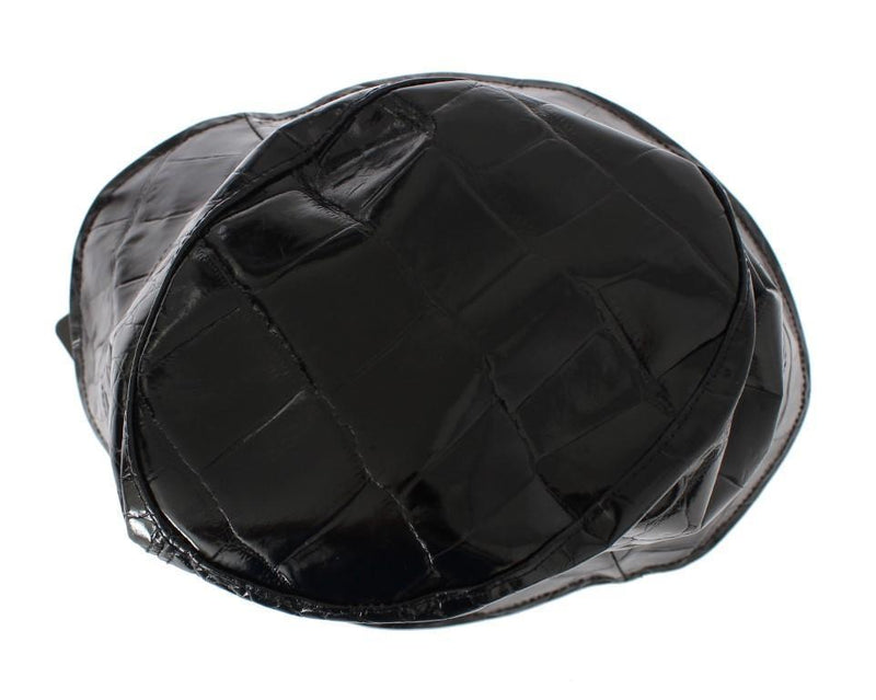 Black Shiny Calfskin Leather Cloche Hat