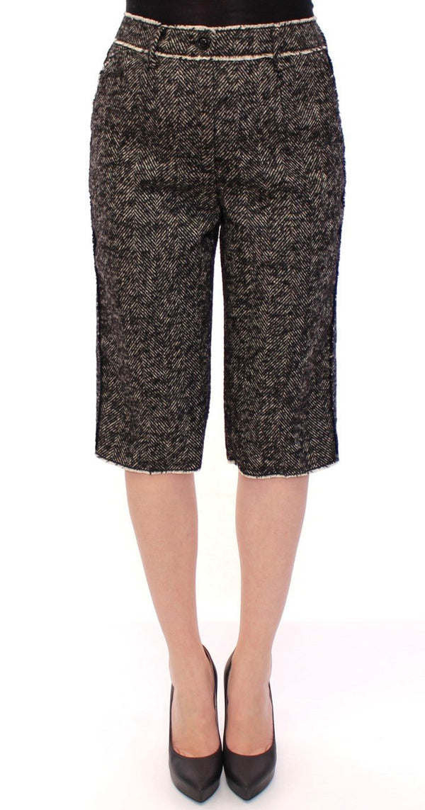 Black white linen shorts pants