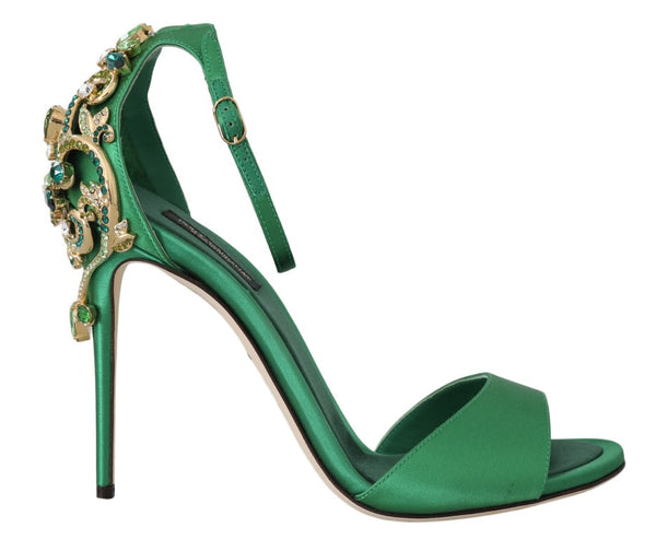 Green Ankle Strap Crystal Stilettos